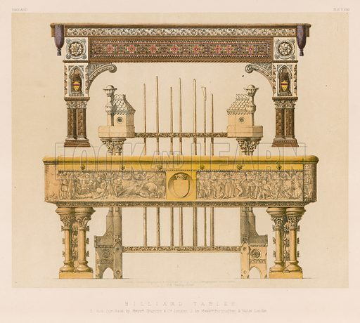 Billiard Tables. Illustration for Masterpieces of Industrial Art and Sculpture at the International Exhibition 1862 (Day & Son, 1863).  Large chromolithograph of exceptional quality.