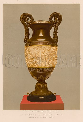 A Bronze and Ivory Vase by Baron H de Triqueti, Paris. Illustration for Masterpieces of Industrial Art and Sculpture at the International Exhibition 1862 (Day & Son, 1863). Large chromolithograph of exceptional quality.