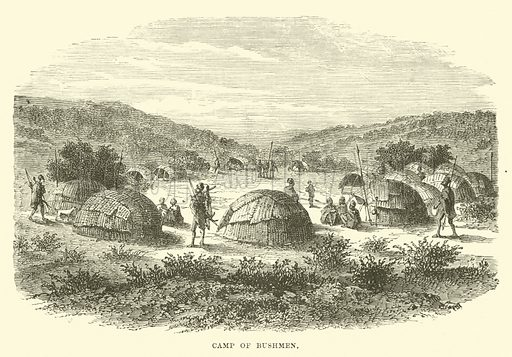 Camp of Bushmen. Illustration for The World Its Cities and Peoples by Robert Brown (Cassell, c 1885).