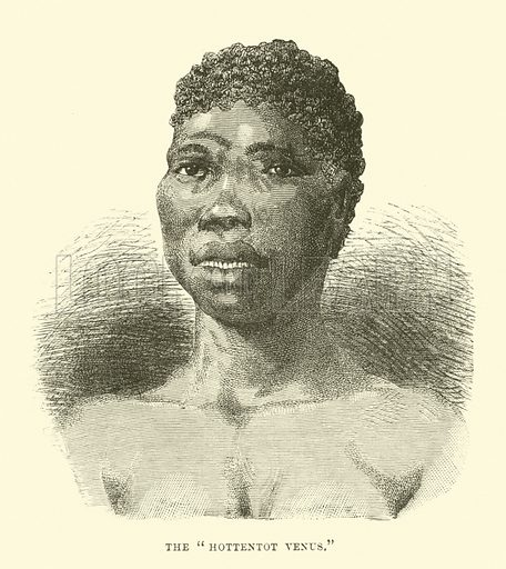 """The """"Hottentot Venus"""". Illustration for The World Its Cities and Peoples by Robert Brown (Cassell, c 1885)."""