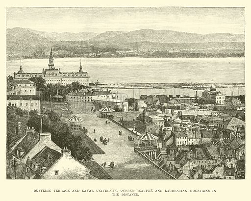 Dufferin Terrace and Laval University, Quebec-Beaupre and Laurentian Mountains in the distance. Illustration for The World Its Cities and Peoples by Robert Brown (Cassell, c 1885).