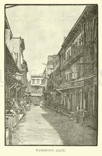 Washington Alley. Illustration for The World Its Cities and Peoples by Robert Brown (Cassell, c 1885).