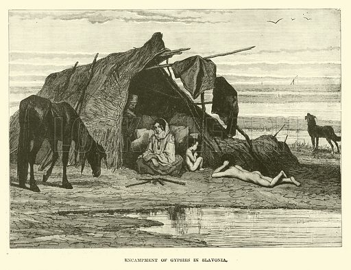 Encampment of gypsies in Slavonia. Illustration for The World Its Cities and Peoples by Robert Brown (Cassell, c 1885).