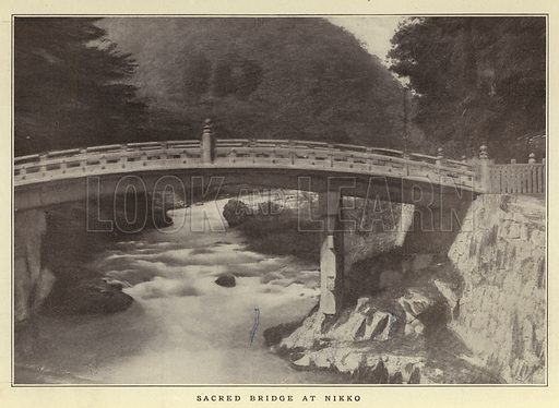 Sacred Bridge at Nikko. Illustration for Japan Her Strength and Her Beauty (Collier, 1904).  Time of war between Japan and Russia.