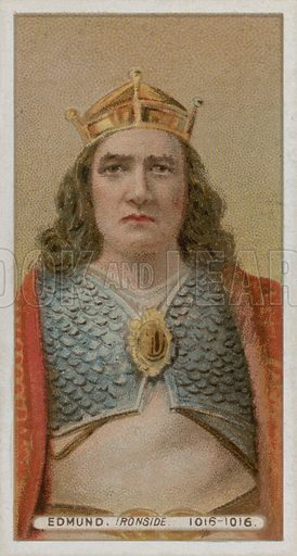 King Edmund, Ironside.  From a set of late 19th century Wills's cigarette cards.  Professionally re-touched image, capable of reproduction at large size.