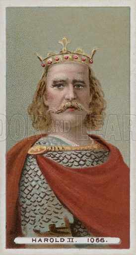 King Harold II. From a set of late 19th century Wills's cigarette cards. Professionally re-touched image, capable of reproduction at large size.