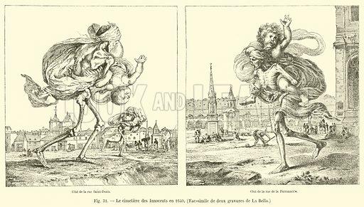 Le cimetiere des Innocents en 1640, Fac-simile de deux gravures de La Bella. Illustration for Paris A Travers Les Ages (Firmin-Didot, 1875).