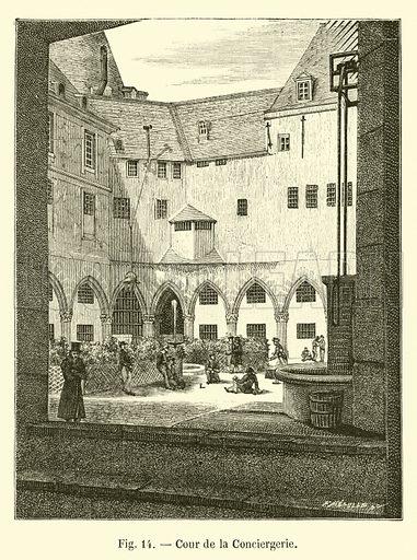 Cour de la Conciergerie. Illustration for Paris A Travers Les Ages (Firmin-Didot, 1875).