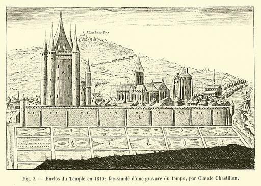 Enclos du Temple en 1610; fac-simile d'une gravure du … stock image | Look  and Learn
