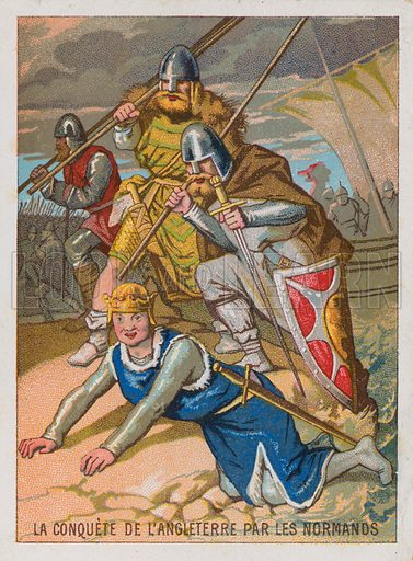 Trade card with an image of the conquest of England by the Normans, with William the Conquerer, having fallen onto the sand of Pevensey Bay, at which he exclaimed, 'By the splendour of God, I have taken seisin of England! - I hold its earth in my hands!'.