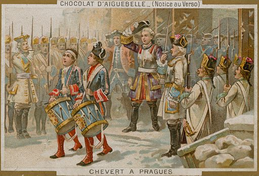 Chocolaterie d'Aiguebelle trade card with an image of the Francois de Chevert, French general, victorious after the Siege of Prague.