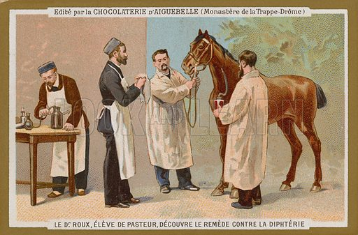 Chocolat d'Aiguebelle trade card, with an image depicting Pierre Paul Emile Roux,  co-founder of the Pasteur Institute, discoverer of the treatment for diptheria.