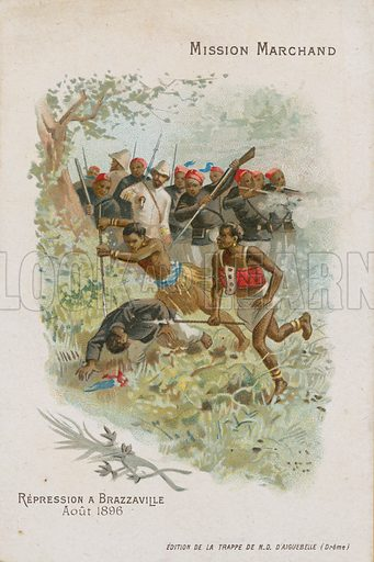 Chocolat d'Aiguebelle trade card, Marchand Mission, with an image depicting the expedition undertaken of French emissary Jean-Baptiste Marchand, unrest in Brazzaville, August 1896.
