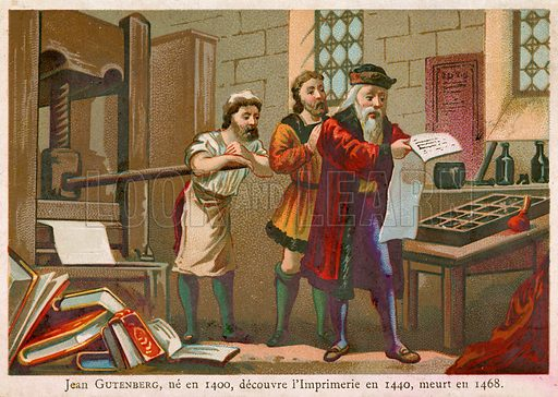 Trade card depicting Johann Gutenberg, the German inventor of printing with movable type.