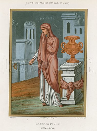 The wife of Job, a 9th-century Byzantine depiction of the Book of Job. Drawn by Ciappori, lithography by Kellerhove. Illustration for Les Arts Somptuaires, Histoire du Costume et de l'Amueublement (Hangard-Mauge, 1858).  Chromolithograph of exceptional quality.