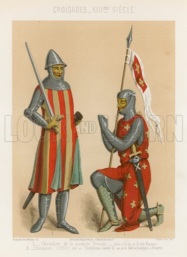 Knight (1295) (chevalier) and a Knight of the first Crusade (Chevalier de la premiere Croisade), 13th-century images of the Crusades. Drawn by Ferdinand Sere and De Vigne, lthography by Ferdinand Sere. Illustration for Les Arts Somptuaires, Histoire du Costume et de l'Amueublement (Hangard-Mauge, 1858). Chromolithograph of exceptional quality.