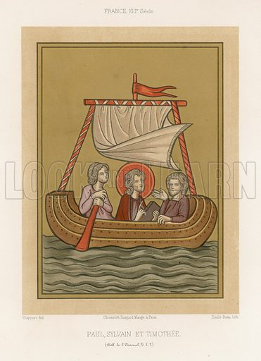 Paul, Silas and Timothy, a 13th-century French depiction. Drawn by Ciappori, lithography by Emile Beau. Illustration for Les Arts Somptuaires, Histoire du Costume et de l'Amueublement (Hangard-Mauge, 1858). Chromolithograph of exceptional quality.