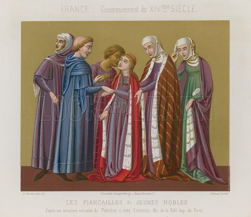 Engagement of the young nobles (Les Fiancailles de Jeunes Nobles), French image from the start of the 14th century. Drawn by Racinet, lithography by Ferdinand Sere. Illustration for Les Arts Somptuaires, Histoire du Costume et de l'Amueublement (Hangard-Mauge, 1858). Chromolithograph of exceptional quality.