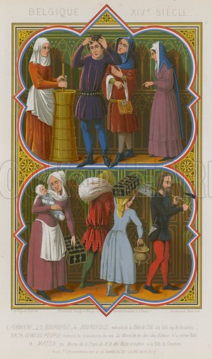Belgian 14th-century depictions of farmworkers, bourgeoisie, the common people and a mason. Drawn by De Vigne and Ferdinand Sere, lithography by Ferdinand Sere. Illustration for Les Arts Somptuaires, Histoire du Costume et de l'Amueublement (Hangard-Mauge, 1858). Chromolithograph of exceptional quality.