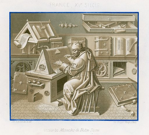 Image in grisaille from The Miracles of Our Lady showing Jean Mielot in the scriptorium, 15th-century France. Drawn by and lithography by Ferdinand Sere and Aug Racinet. Illustration for Les Arts Somptuaires, Histoire du Costume et de l'Amueublement (Hangard-Mauge, 1858).  Chromolithograph of exceptional quality.