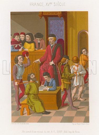 Courtroom scene with a man being held by a rope around his neck, 15th-century France. Drawn by and lithography by Ferdinand Sere and Aug Racinet. Illustration for Les Arts Somptuaires, Histoire du Costume et de l'Amueublement (Hangard-Mauge, 1858). Chromolithograph of exceptional quality.