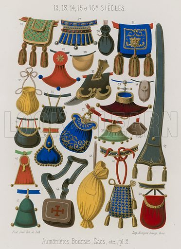 Purses, pouches and bags (aumonieres, bourses, sac); 12th to 16th century. Drawn by and lithography by Ferdinand Sere. Illustration for Les Arts Somptuaires, Histoire du Costume et de l'Amueublement (Hangard-Mauge, 1858). Chromolithograph of exceptional quality.