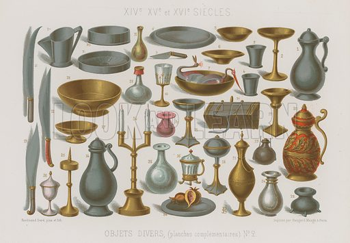 Various objects (Objets divers, planches complementaires); 14th to 16th century. Drawn by and lithography by Ferdinand Sere. Illustration for Les Arts Somptuaires, Histoire du Costume et de l'Amueublement (Hangard-Mauge, 1858). Chromolithograph of exceptional quality.