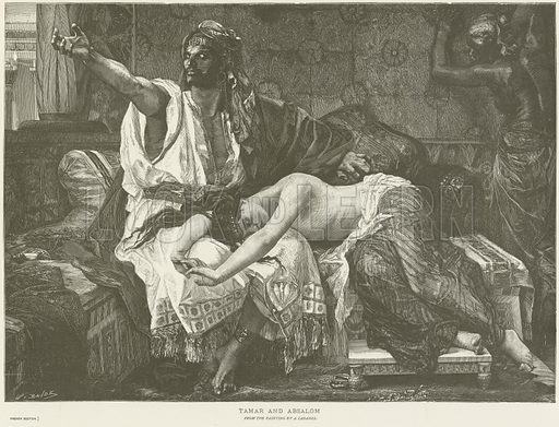 Tamar and Absalom. After the painting by Alexandre Cabanel. Illustration for The Chefs-D'Oeuvre d'Art of the International Exhibition, 1878, edited by Edward Straham (Gebbie & Barrie, c 1878).