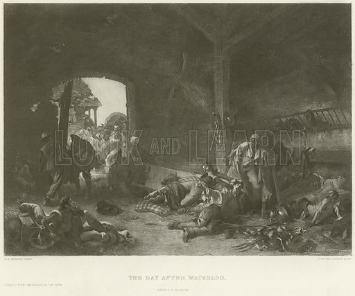 The day after Waterloo. After the painting by Emile Antoine Bayard, gravure by Goupil & Co Illustration for The Chefs-D'Oeuvre d'Art of the International Exhibition, 1878, edited by Edward Straham (Gebbie & Barrie, c 1878).