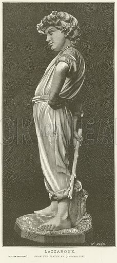 Lazzarone; from the statue by Q Corbellini. Illustration for The Chefs-D'Oeuvre d'Art of the International Exhibition, 1878, edited by Edward Straham (Gebbie & Barrie, c 1878).