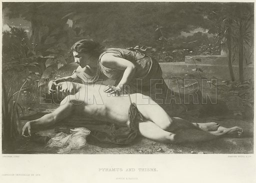 Pyramus and Thisbe. After the painting by A Delobbe, gravure by Goupil & Co Illustration for The Chefs-D'Oeuvre d'Art of the International Exhibition, 1878, edited by Edward Straham (Gebbie & Barrie, c 1878).