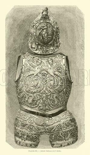 Italian armour, 16th Century. Illustration from Dictionnaire de l'art, de la curiosite et du bibelot, by Ernest Bosc (Paris, 1883).