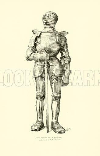 German 'Maximilian' suit of armour, 16th Century. Illustration for Les Merveilles de l'Art Ancien en Belgique (J Rozez, 1890).