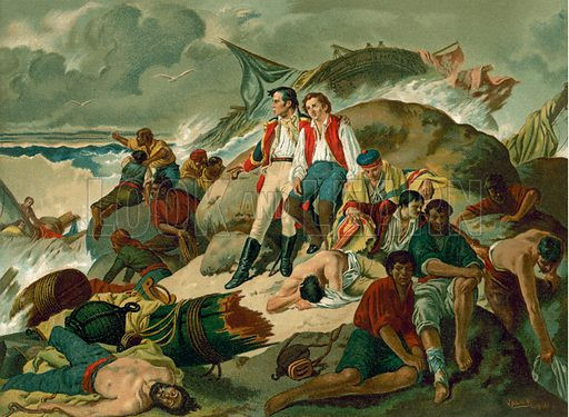 Shipwrecked survivors of the Battle of Trafalgar, 1805. Illustration for Glorias Espanola by Carlos Mendoza (Ramon Molinas, c 1880).