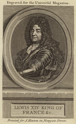 Louis XIV, King of France. Illustration for the Universal Magazine. Printed for J Hinton at the King's Arms in Newgate Street.
