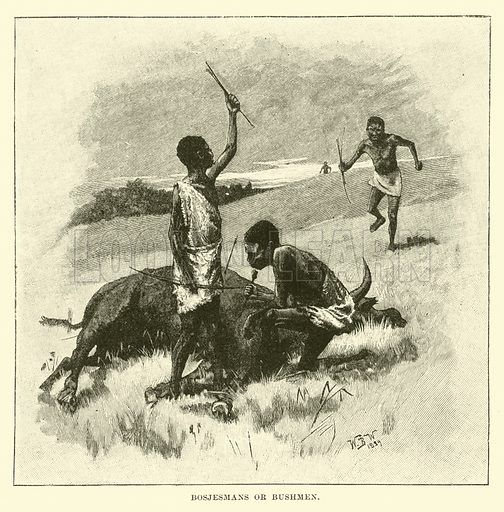 Bosjesmans or Bushmen. Illustration for Conquests of the Cross, A Record of Missionary Work throughout the World edited by Edwin Hodder (Cassell, c 1890).
