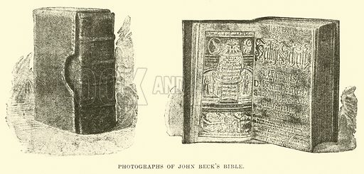 Photographs of John Beck's Bible. Illustration for Conquests of the Cross, A Record of Missionary Work throughout the World edited by Edwin Hodder (Cassell, c 1890).