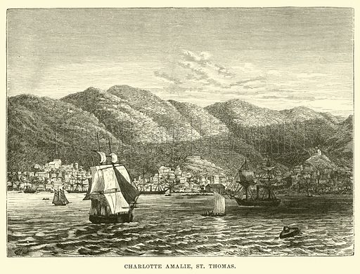Charlotte Amalie, St Thomas. Illustration for Conquests of the Cross, A Record of Missionary Work throughout the World edited by Edwin Hodder (Cassell, c 1890).