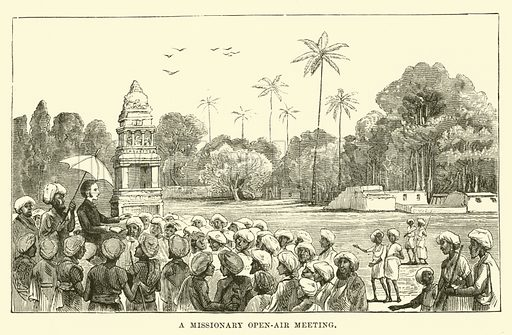 A Missionary Open-air Meeting. Illustration for Conquests of the Cross, A Record of Missionary Work throughout the World edited by Edwin Hodder (Cassell, c 1890).