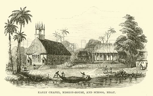 Early Chapel, Mission-house, and School, Mbau. Illustration for Conquests of the Cross, A Record of Missionary Work throughout the World edited by Edwin Hodder (Cassell, c 1890).