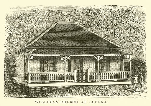 Wesleyan Church at Levuka. Illustration for Conquests of the Cross, A Record of Missionary Work throughout the World edited by Edwin Hodder (Cassell, c 1890).