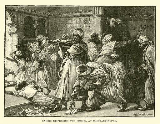 Rabbis dispersing the school at Constantinople. Illustration for Conquests of the Cross, A Record of Missionary Work throughout the World edited by Edwin Hodder (Cassell, c 1890).