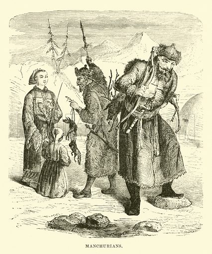 Manchurians. Illustration for Conquests of the Cross, A Record of Missionary Work throughout the World edited by Edwin Hodder (Cassell, c 1890).