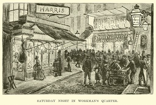 Saturday Night in Workman's Quarter. Illustration for Europe in Storm and Calm by Edward King (Nichols, 1888).