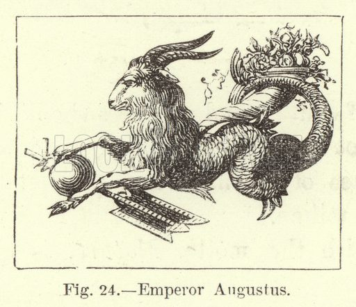 Emperor Augustus. Illustration for Historic Devices, Badges and War-Cries by Mrs Bury Palliser (Sampson Low, 1870).