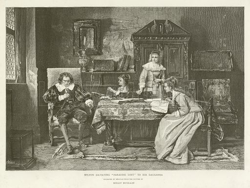 """Milton dictating """"Paradise Lost"""" to his daughter, engraved by Meaulle from the picture by Mihaly Munkacsy. Illustration for Choice Examples of the Engraver's Art (Hamilton Adams, c 1890)."""