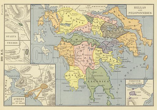 300 BC; Sparta; Thebes; Athens and the Bay of Salamis; Hellas and Peloponnesus; Corinth and the Isthmus. Illustration for the New Historical Atlas and General History by Robert H Labberton, Townsend Mac Coun, 1886).