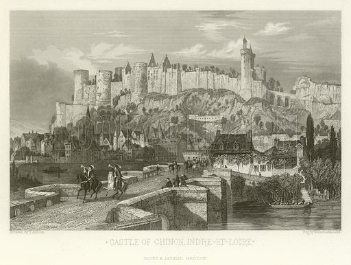 Castle of Chinon, Indre-et-Loire. A Popular History of France by M Guizot (Dana Estes and Charles E Lauriat, c 1885).