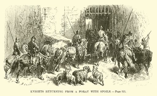 Knights returning from a Foray with spoils. A Popular History of France by M Guizot (Dana Estes and Charles E Lauriat, c 1885).