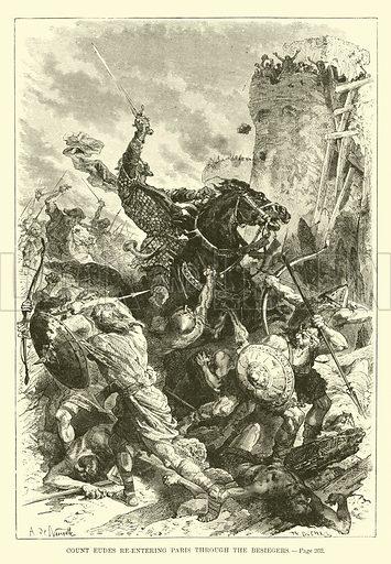 Count Eudes re-entering Paris through the besiegers. A Popular History of France by M Guizot (Dana Estes and Charles E Lauriat, c 1885).